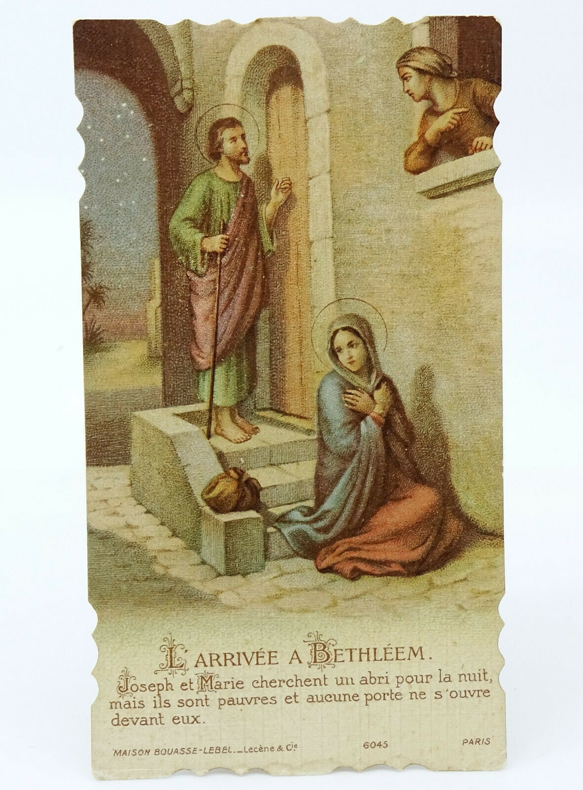 Abri Devant De Porte antique vintage french holy prayer card bethlehem inn nativity bouasse lebel