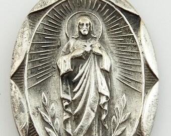 Vintage Scapular Medal Our Lady of Mount Mt Carmel Pendant Charm Sacred Heart