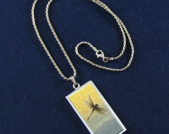 Dragonfly Pendant, Necklace, Hand Crafted Jewelry, Sterling Silver Rope Chain