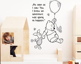 Winnie The Pooh Friendship Wall Sticker Quote Kids Boys Girl Bedroom Baby Nursery Decoration