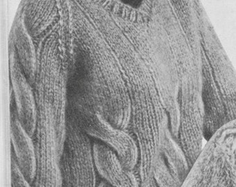 241 PDF Cable Knit Sweater Knitting Pattern, Ladies V-Neck Pullover, Cabled Knit Design, Size 12 to 18, Vintage 1960's, PDF Download, Gift