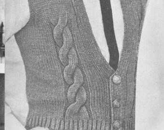 201 Pdf Mens Pullover Vest Knitting Pattern Free Socks Etsy
