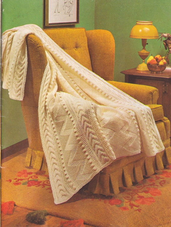 Vintage Knitting Pattern Cable//Aran Design Afghan//Blanket//Throw.