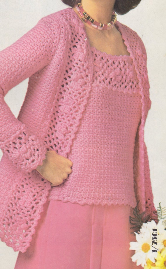 6afd648c16fbc8 PDF Cardigan and Camisole Set Crochet Pattern Ladies Boho