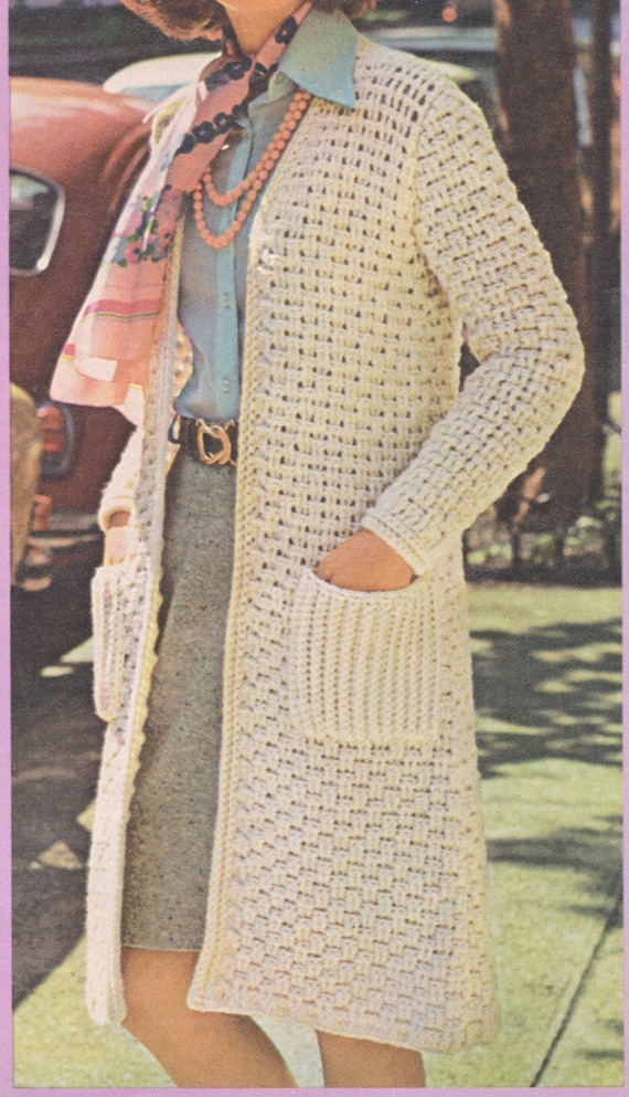 100 Pdf Long Sweater Coat Crochet Pattern Ladies Long Sweater Etsy