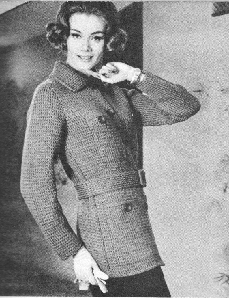 3155ce7b8477d7 160 PDF Belted Jacket Knitting Pattern Ladies Sweater Jacket