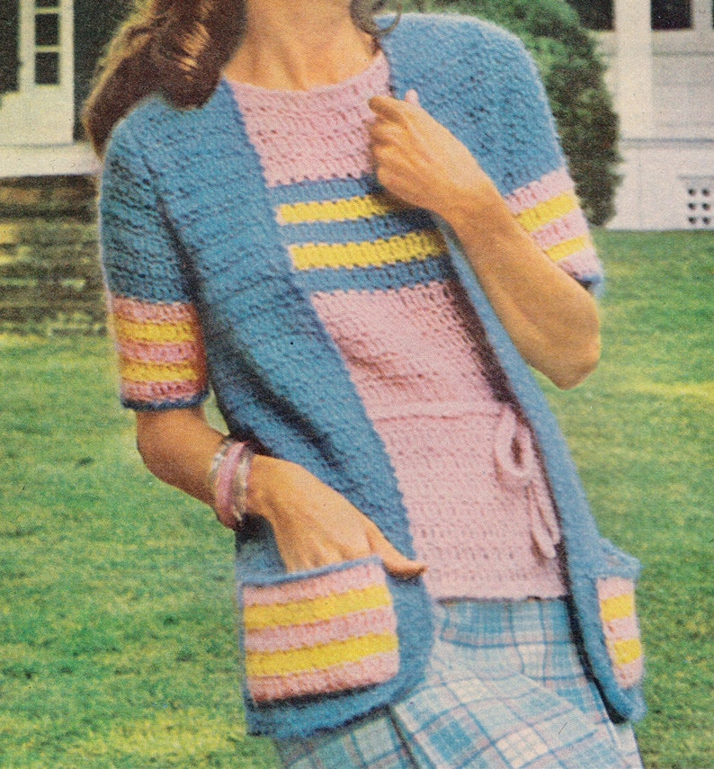 f94231c285edfa 136 PDF Striped BOHO Set Crochet Pattern Size 8 10 12 14 16