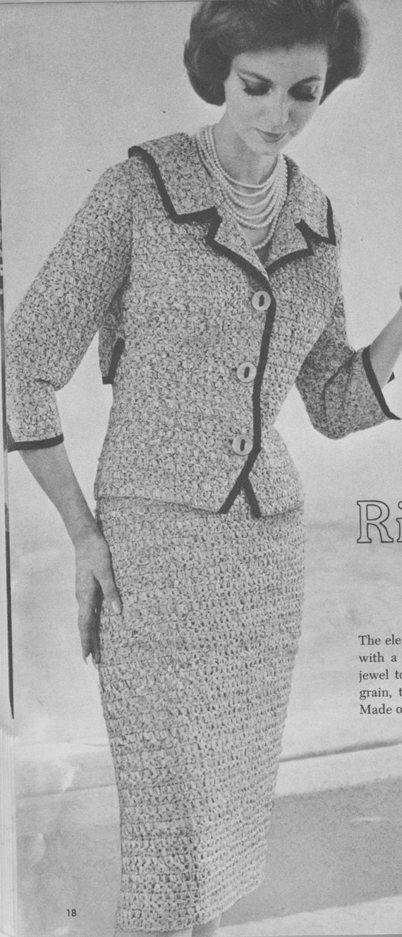167 Pdf Chanel Style Suit Crochet Pattern Ladies Jacket And Etsy