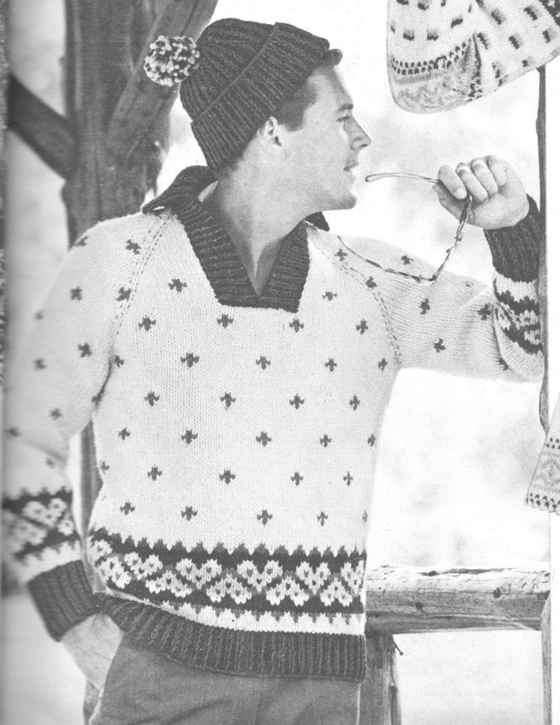 a67517e42b6817 206 PDF Ski Sweater and Toque Knitting Pattern Mens  Ski