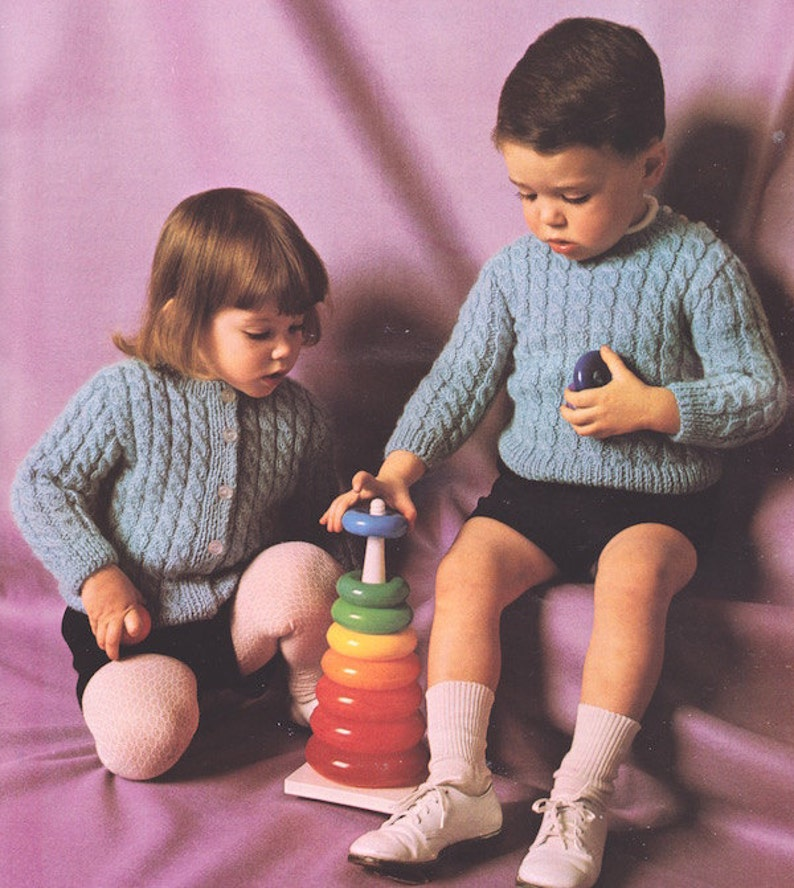 431b7e3896312e 547 PDF Boy and Girl Sweater Knitting Pattern Size 1 to 4.
