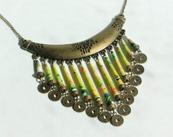 """Rolled paper - ethnic necklace """"Luck"""" brass bronze natural"""