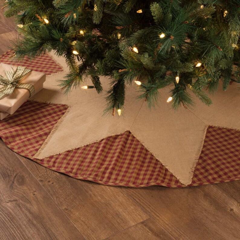 save off 7021d a3829 Burgundy Check Star Tree Skirt, Rustic Tree Skirt, Christmas Tree Skirt,  Burlap Tree Skirt, Farmhouse Tree Skirt