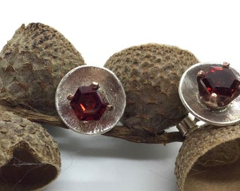 Hexagon garnet silver studs