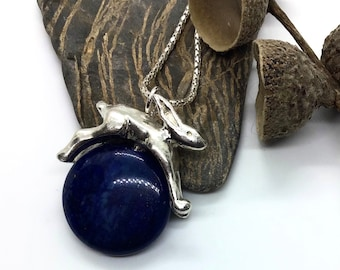 Hare in the moon silver and sodalite necklace