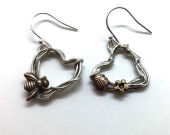 Woodland heart bee earrings
