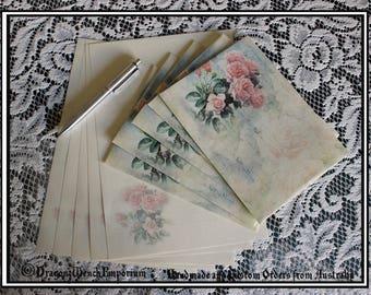 Handmade writing paper and envelopes. Handmade stationary. Personalised stationary. Rose stationary