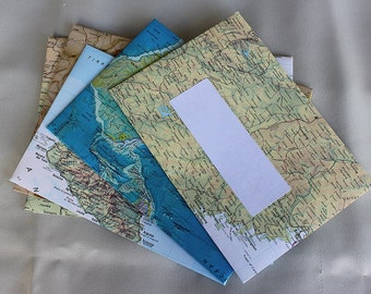 Handmade C6  envelopes 115mm x 160mm. 4 1/2 inch x 6 1/4 inch. Other sizes available DL  5 x 7  Recycled Australian and world atlas pages.