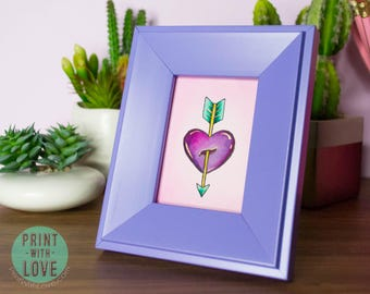 MINI Framed Original Watercolor Vintage Tattoo Flash Painting Art Heart and Arrow Valentine in Purple Frame FREE US Shipping