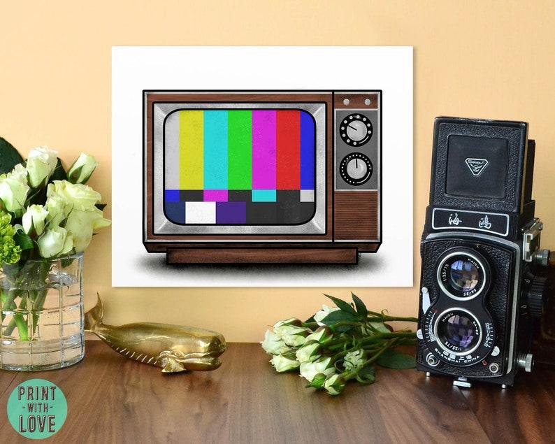 Retro Vintage Wood TV Midcentury Test Pattern Digital Painting image 0
