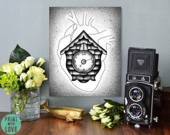 Cuckoo Clock with Anatomical Human Heart Outline Tattoo Flash Style Black and Gray Digital Illustration Print