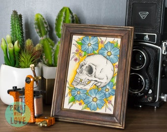 Framed Vintage Retro Tattoo Flash Skull and Flowers Original Watercolor Painting Small FREE US SHIPPING