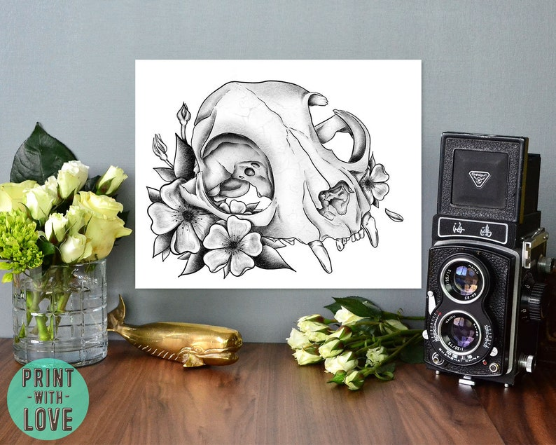 Cat Skull and Flowers Goth Punk Tattoo Flash Vintage Black and image 0