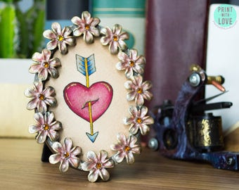 "MINI Framed Original Watercolor Vintage Tattoo Flash Painting Art Heart and Arrow Valentine in Oval Enamel Flower Frame 4"" - FREE SHIPPING"