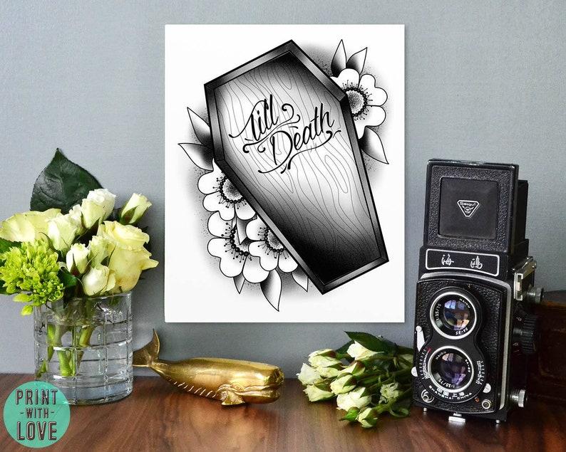 Till Death Tattoo Flash Style Coffin Casket Romantic Goth image 0