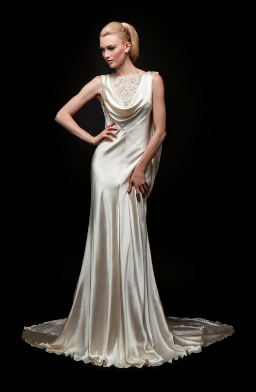 f2b2842ea11 Wedding Dress Bridal Gown Beaded Top Cowl Neck Cape
