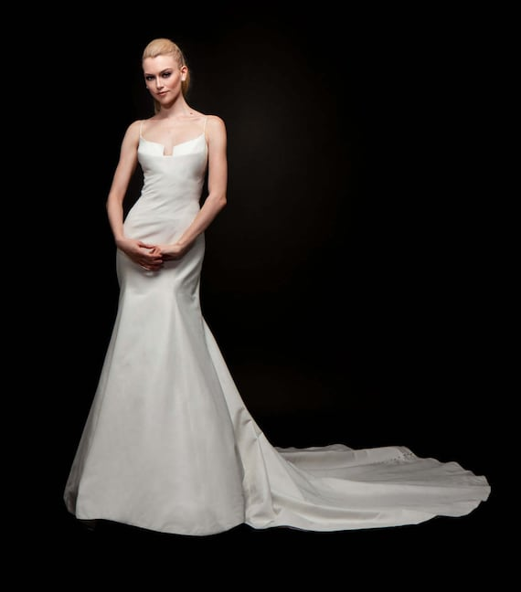 Wedding Dress Bridal Gown Form Fitting Low Front Crystal Beading Vintage Style Couture Designer Customizable Cut To Order