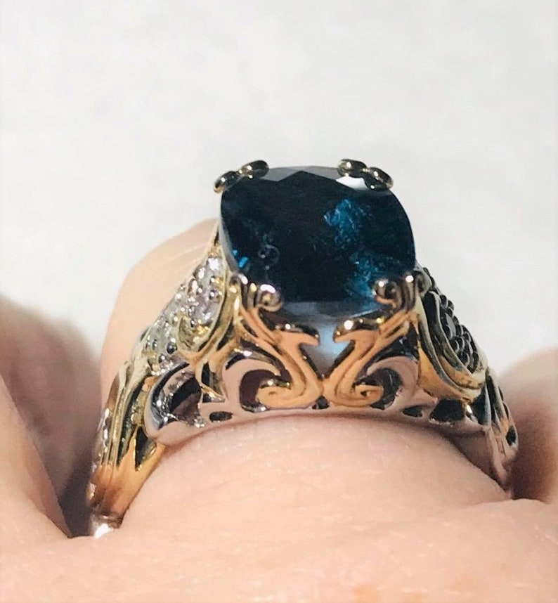 London Blue Topaz Solitaire Gold and Rhodium Plated Sterling Silver Ring size 10