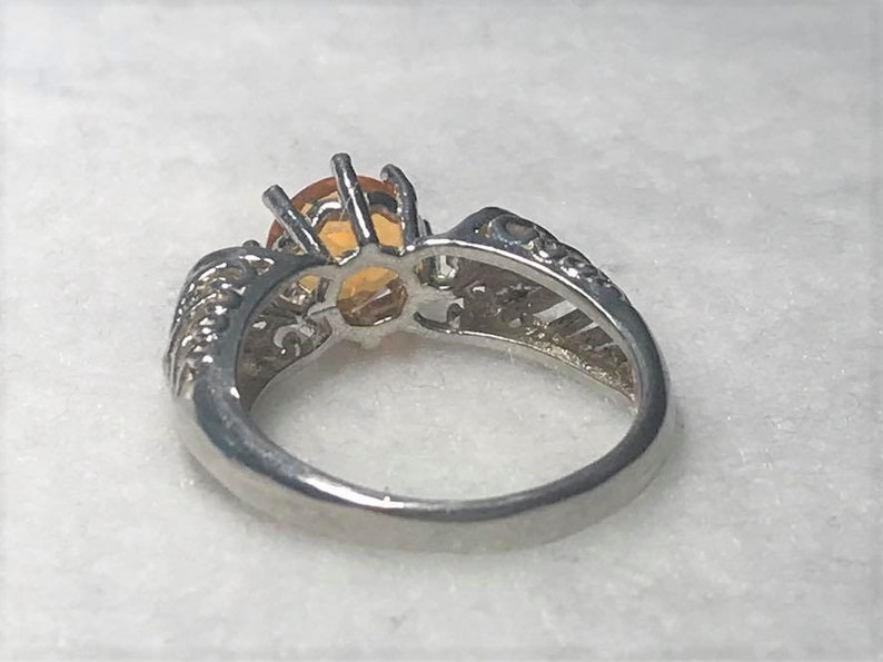Fire Opal Sterling Silver Solitaire Ring size 8