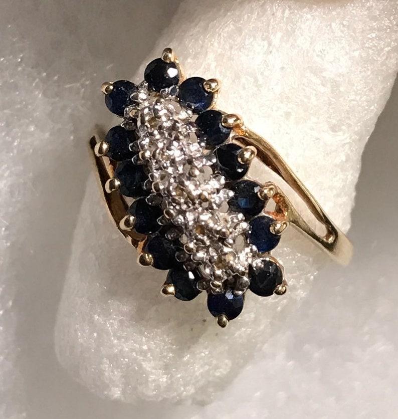 10kt Yellow Gold Sapphire /& Diamond Ring sz 8