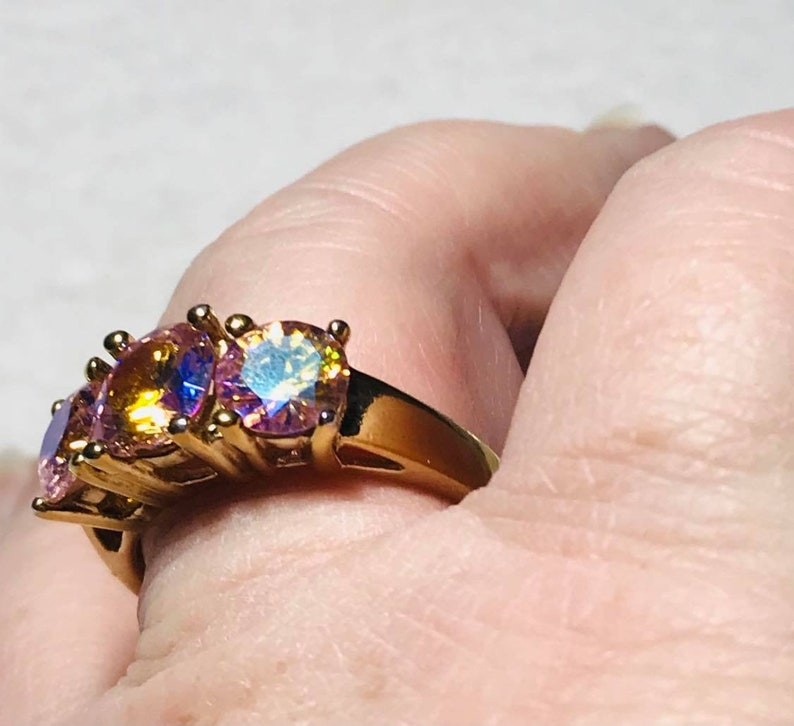 Mystic Topaz Tri-Stone Gold Plated Sterling Silver Ring size 11