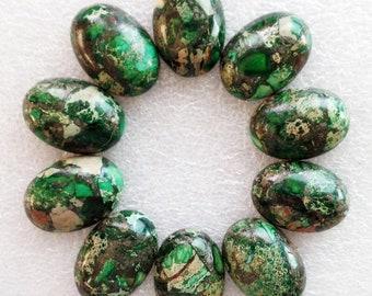 Sea Sediment Jasper & Pyrite - (1x) Green Oval Cabochon