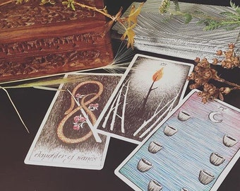 """TAROT reading """"LUNAR CYCLE"""" (new/full/dark moon phases) • 3 cards • spirit guides give insight • reiki/saged wild unknown deck"""