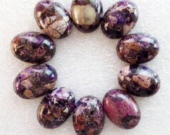 Sea Sediment Jasper & Pyrite - (1x) Purple Oval Cabochon