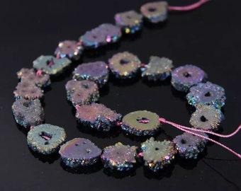 Rainbow Titanium Solar Quartz - (30x beads)