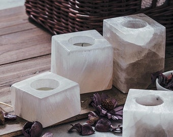 White Ore Stone Cube Candleholders