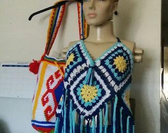 SUMMER/Coachella  SALE/Sunflower/Evil Eye Crochet bikini top, halter handmade for summer fashion  2018 and swimwear/beachwear/street style