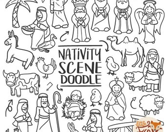 Nativity Scene Christmas Characters Traditional Doodle Icons Clipart Scrapbook Set Hand Drawn Line Art Design Artwork Coloring