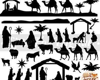image about Free Printable Silhouette of Nativity Scene called Nativity silhouette Etsy