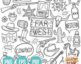 Western clipart   Etsy