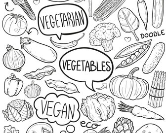 Fruits Healthy food Vegetarian Doodle Icons Clipart