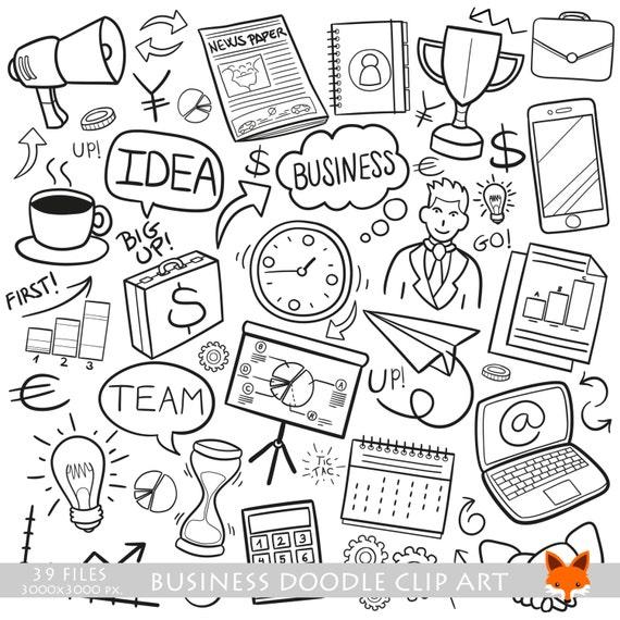 Unternehmen Finanzielle Arbeit Doodle Symbole Clipart Etsy
