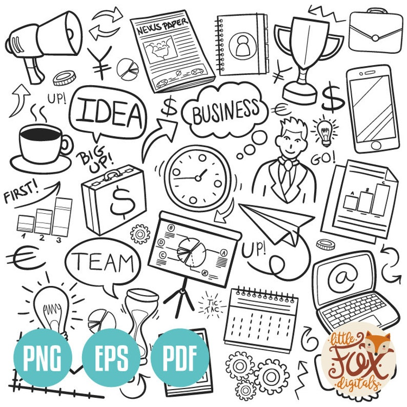 Vector Eps Business Financial Work Doodle Icons Clipart