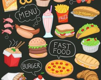 Fast Food Restaurant Items Doodle Icons Clipart Scrapbook Set