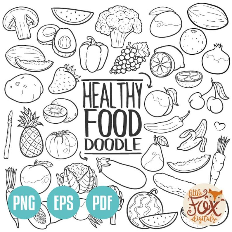 Kleurplaten Over Gezond Eten.Vector Eps Gezonde Voeding Groenten Concept Art Cartoon Doodle Etsy