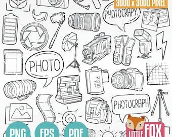 PHOTOGRAPHY, Icon Clip Art Doodle. Photograph Icons Clipart Camera Photo Hand Drawn Line Art Design. Picture Artwork Clip Art Coloring.