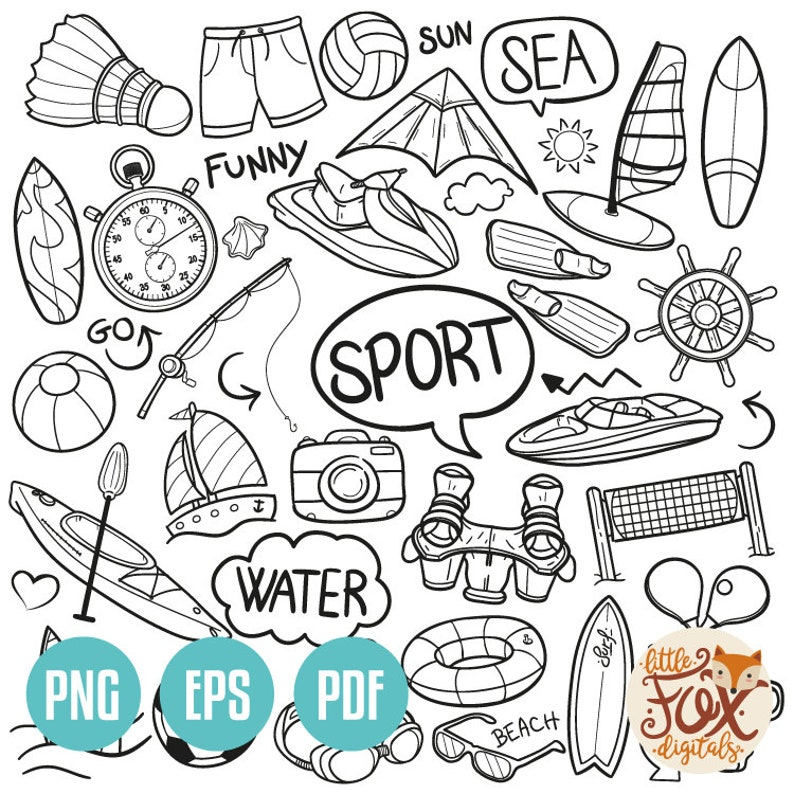 Vector Eps Sports Beach Summer Doodle Icons Clipart Scrapbook